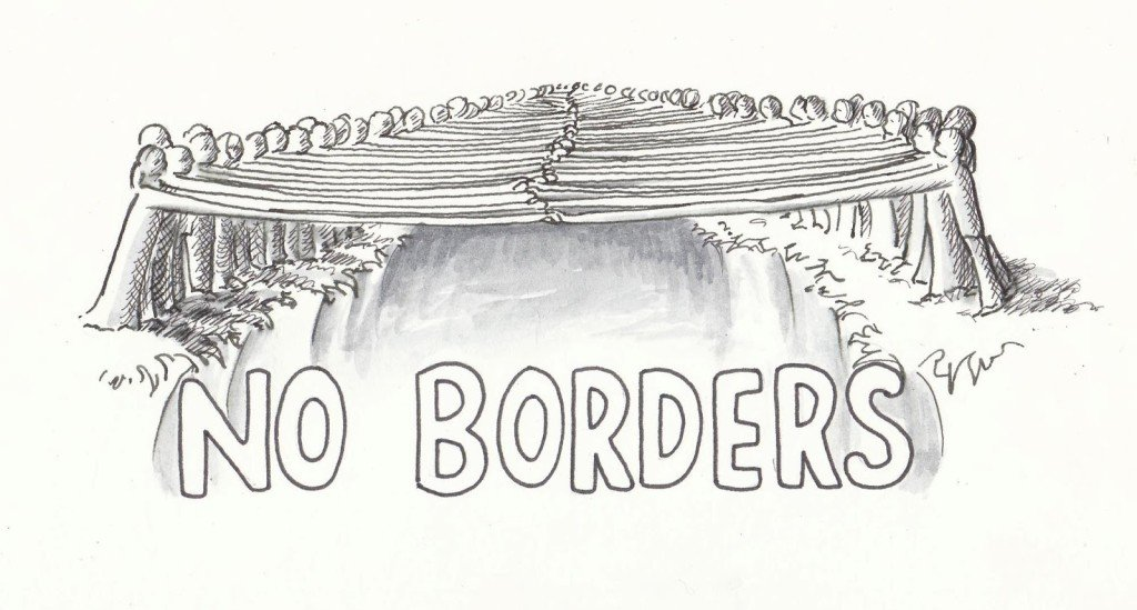 people reaching across a border