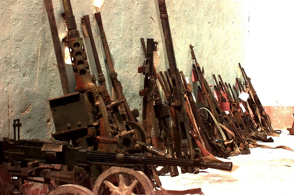 Confiscated weapons from 2006. That went well. Source