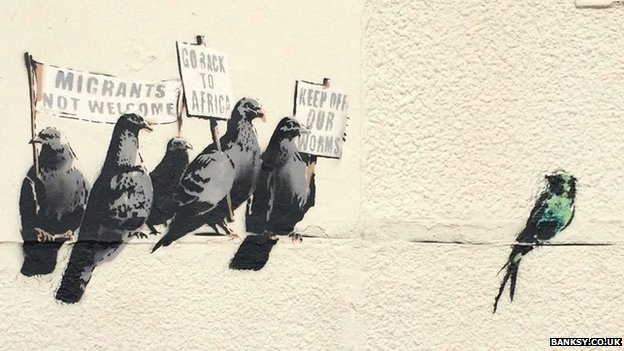 Banksy immigration mural