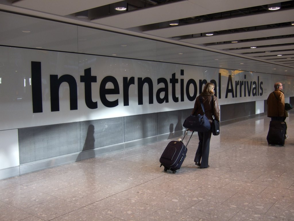 international arrivals airport visitor