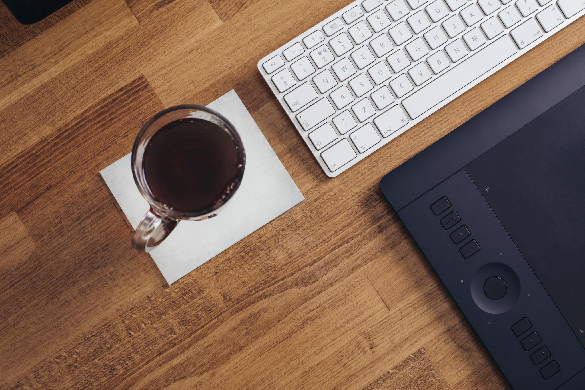 keyboard coffee tea cup