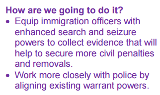 Government factsheet: immigration officers are becoming like policemen - just less regulated
