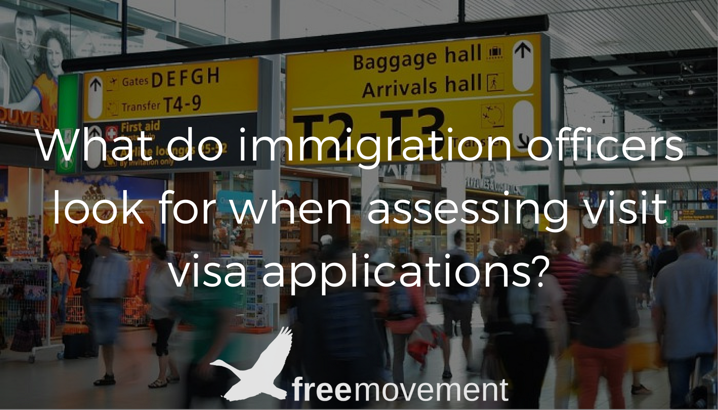 What do immigration officers look for when assessing visit visa applications?