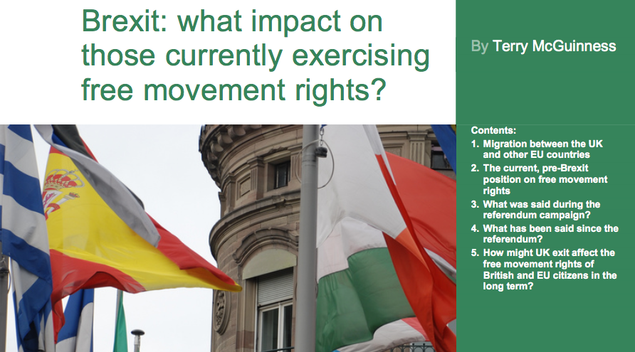 Brexit: what impact on those currently exercising free movement rights? – Commons Library briefing