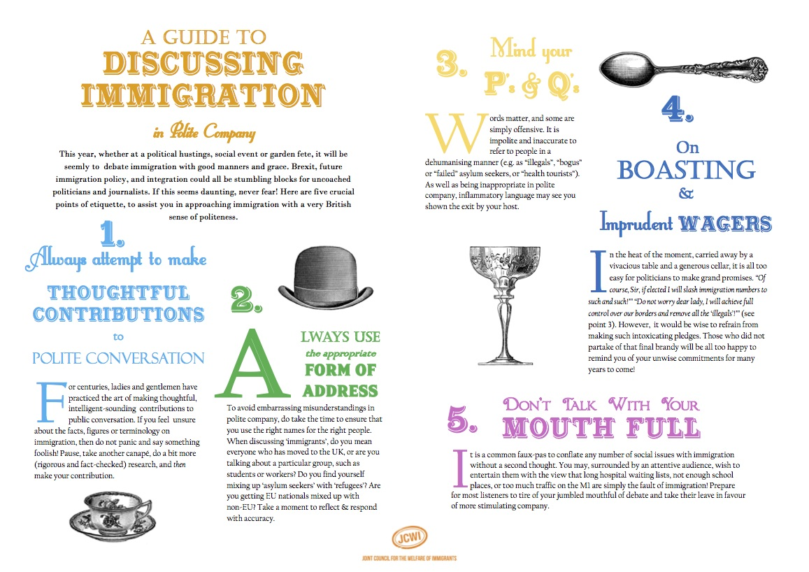 A Pictorial Guide to Discussing Immigration in Polite Company by JCWI