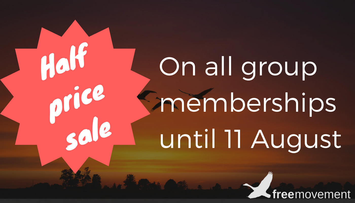 Half price summer sale on all Free Movement group memberships