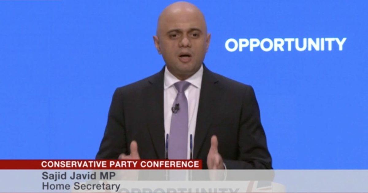 Javid sounds tough note on citizenship in party conference speech