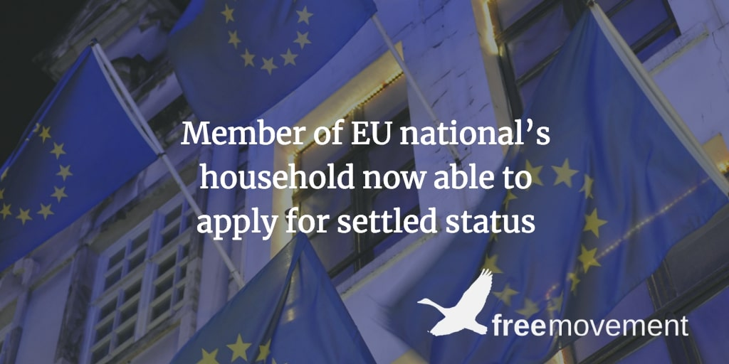 A member of an EU national's household can apply for settled status