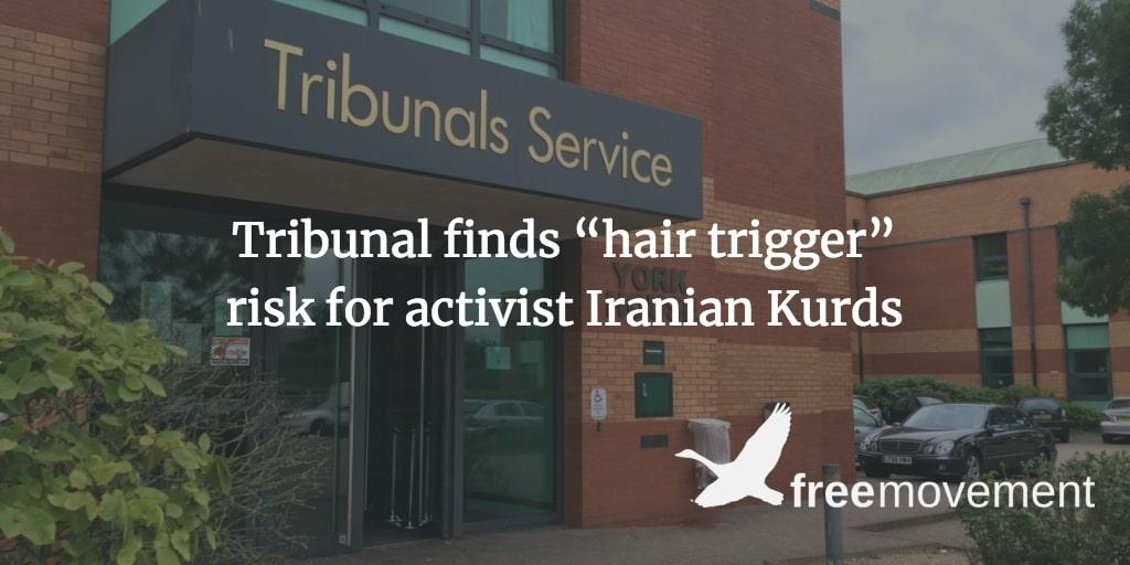 "Tribunal finds ""hair trigger"" risk for activist Iranian Kurds"