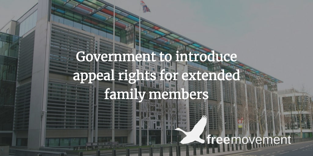 Government to introduce appeal rights for extended family members